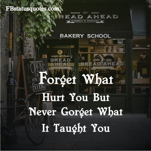 Forget What Hurt You But Never Gorget What It Taught You
