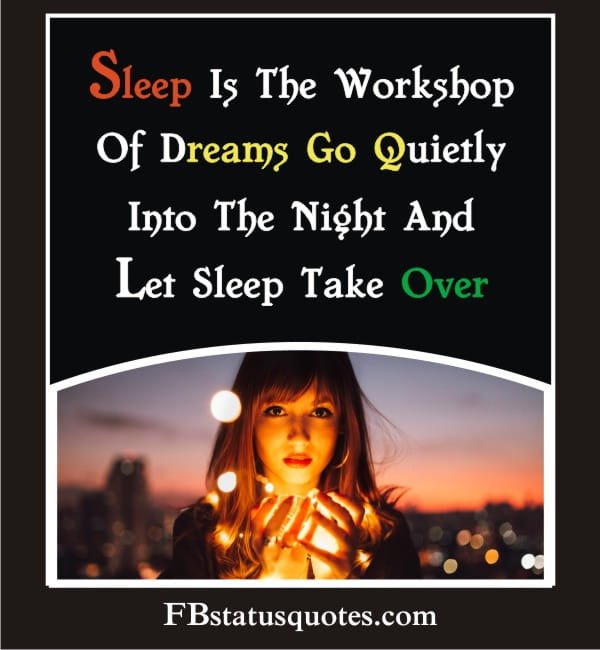 Sleep Is The Workshop Of Dreams. Go Quietly Into The Night And Let Sleep Take Over.